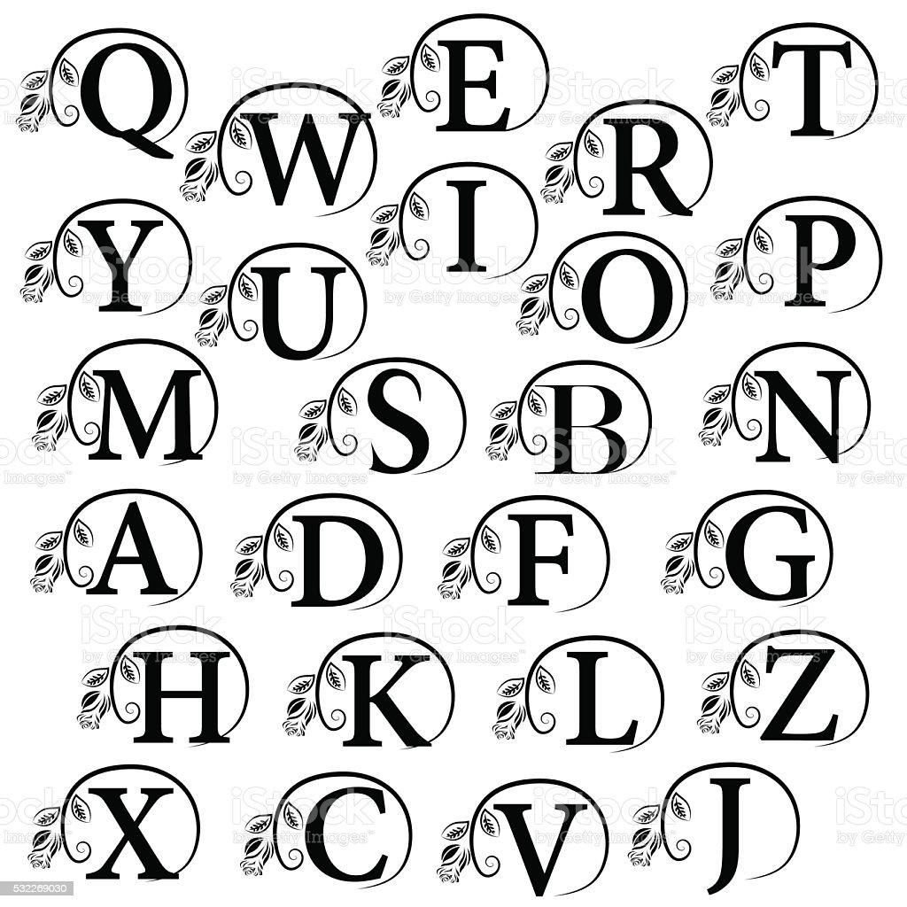 Vintage Alphabet design element. Emblem letters with rose. Vector illustration vector art illustration
