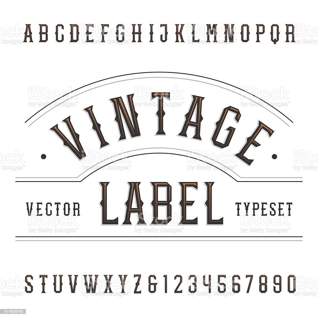 Vintage alphabet vector font in western style. vector art illustration