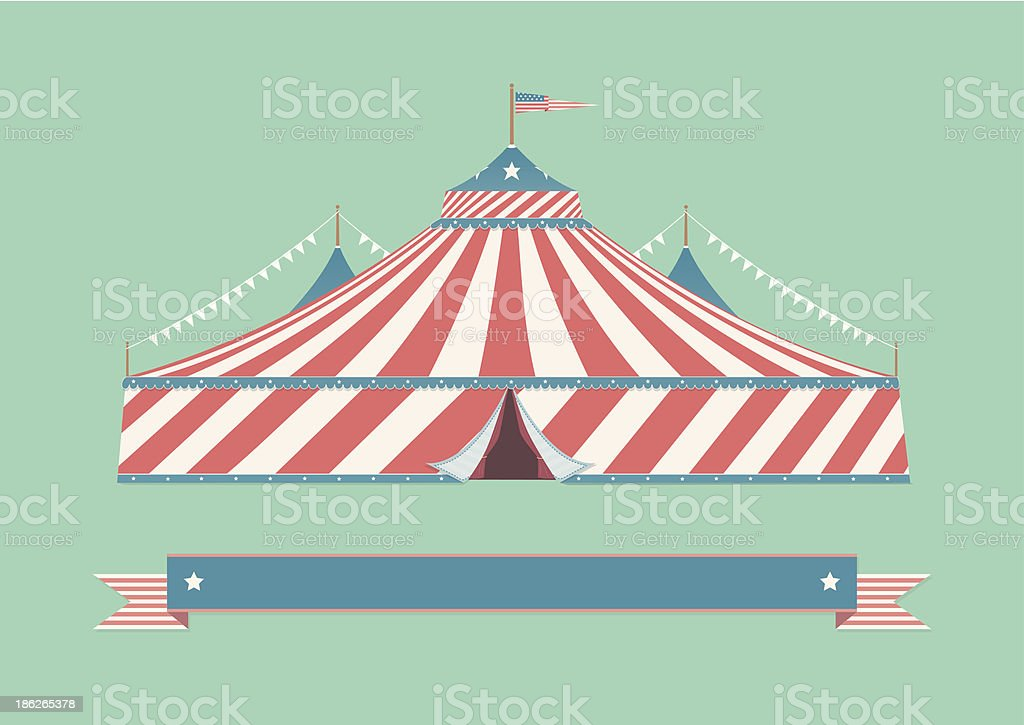 Vintage American Circus Tent vector art illustration