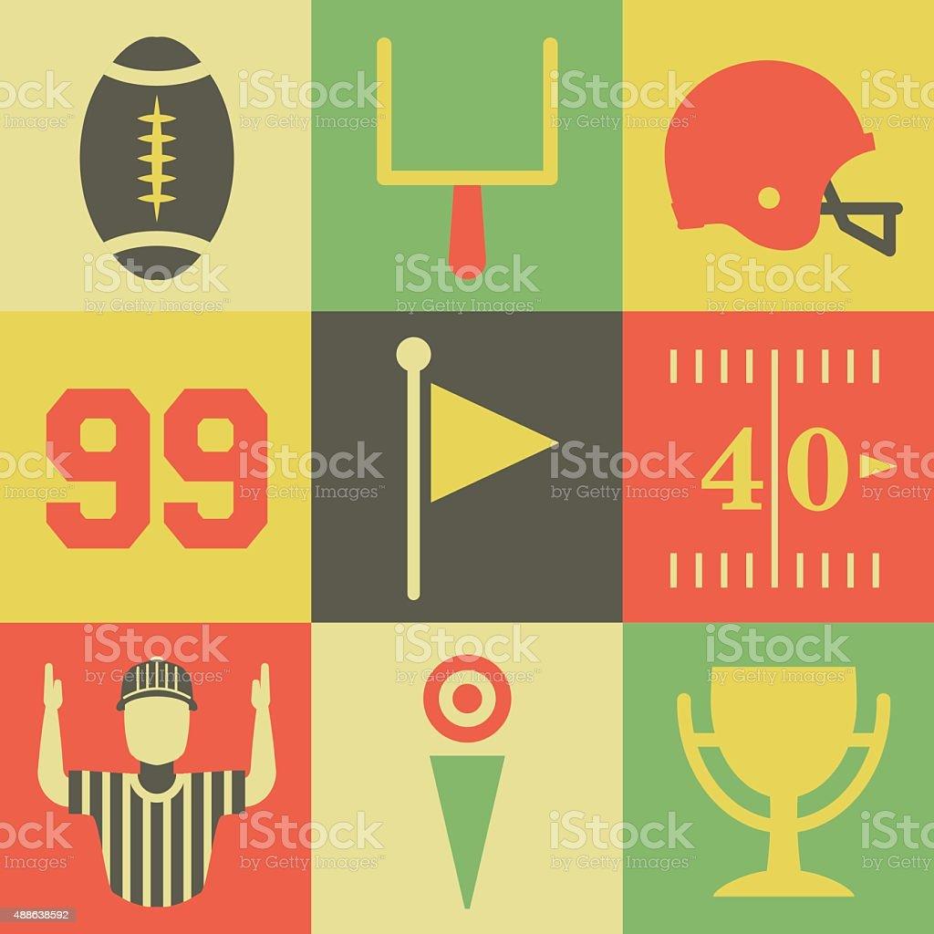 Vintage American Football Icons vector art illustration