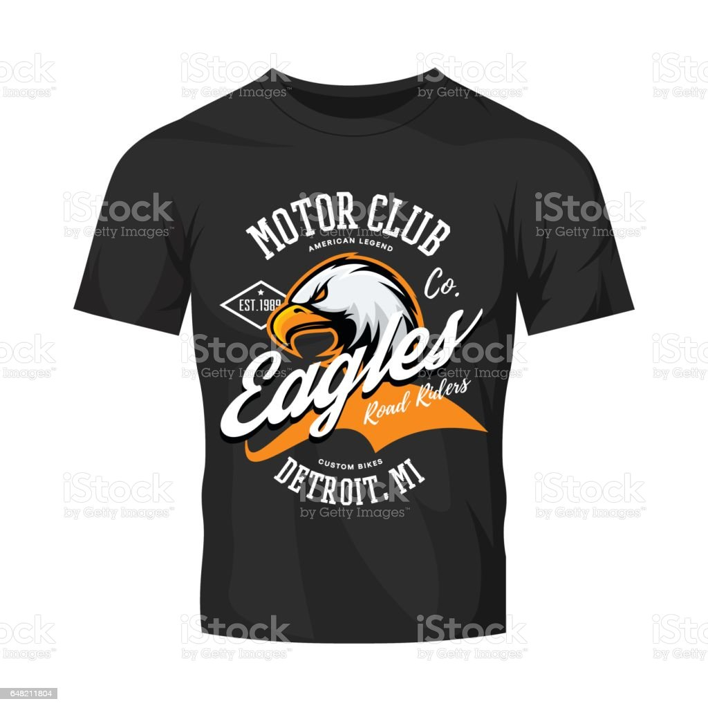 Design t shirt motor -  Vintage American Furious Eagle Custom Bike Motor Club Tee Print Vector Design Isolated On Black T