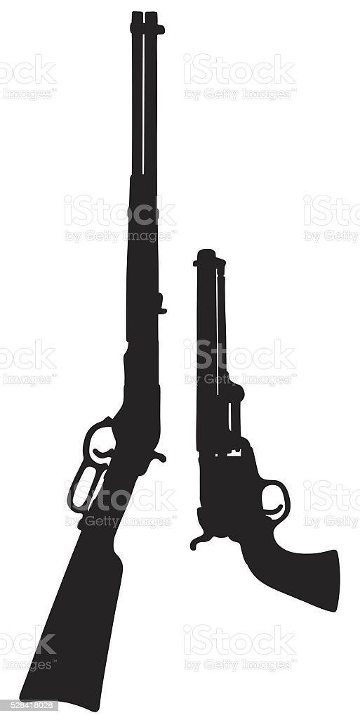 Vintage american guns vector art illustration