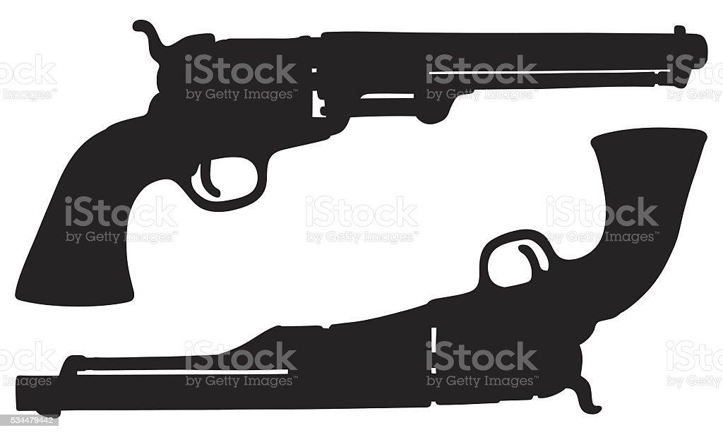 Vintage american handguns vector art illustration