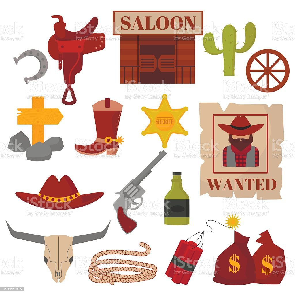 Vintage American old western designs sign and graphics cowboy vector vector art illustration