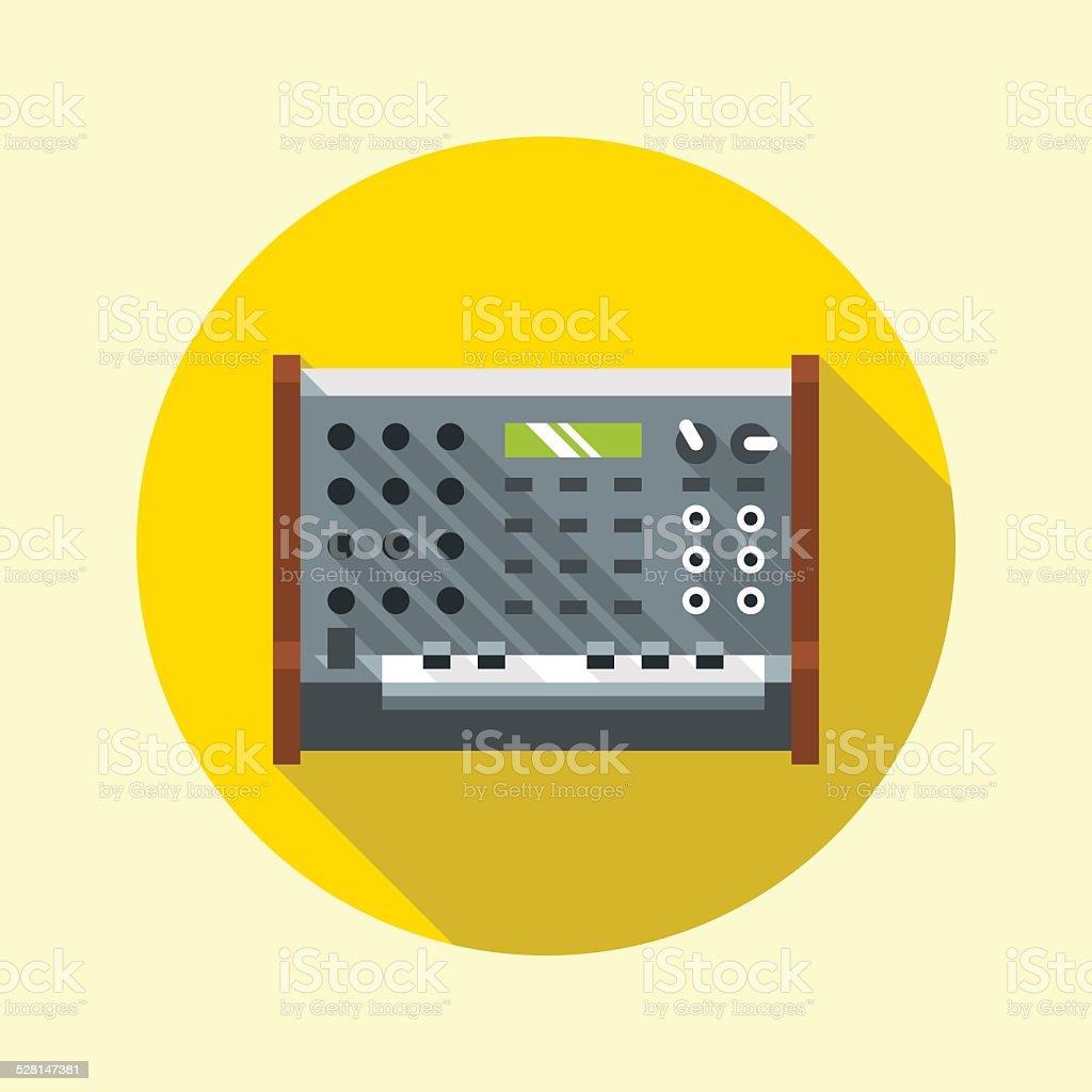 Vintage analog synthesizer icon. Flat design long shadow. Vector illustration. vector art illustration