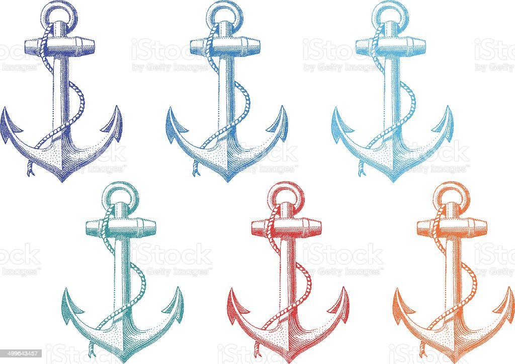 vintage anchor with rope, vector set vector art illustration