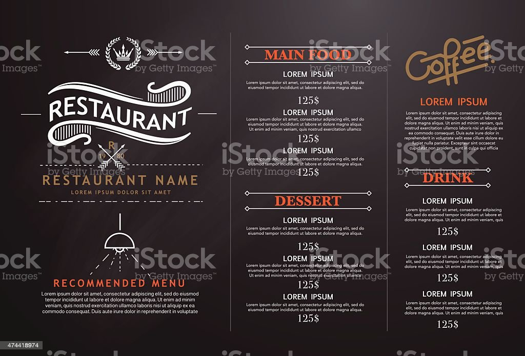 vintage and art restaurant menu design. vector art illustration