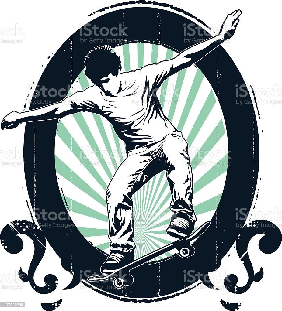 vintage and grunge skate shield with rider jumping vector art illustration