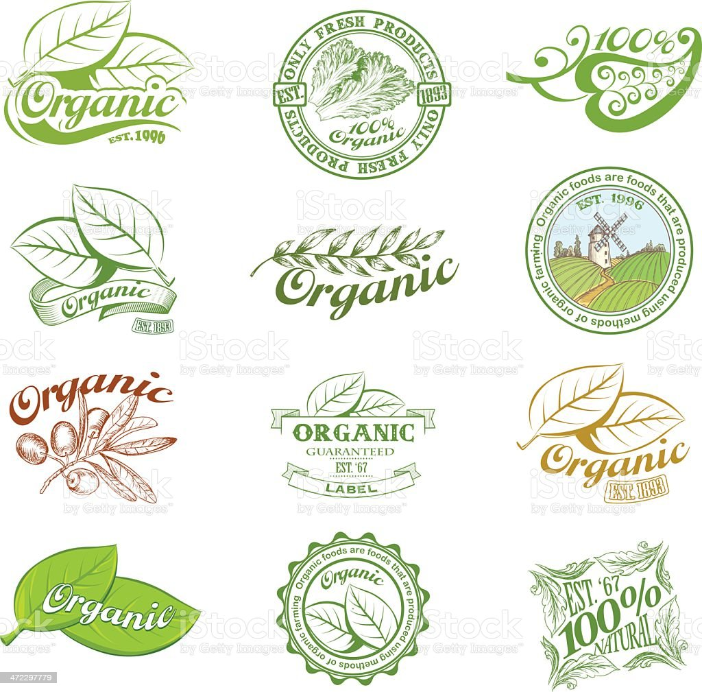 Vintage and modern organic labels vector art illustration