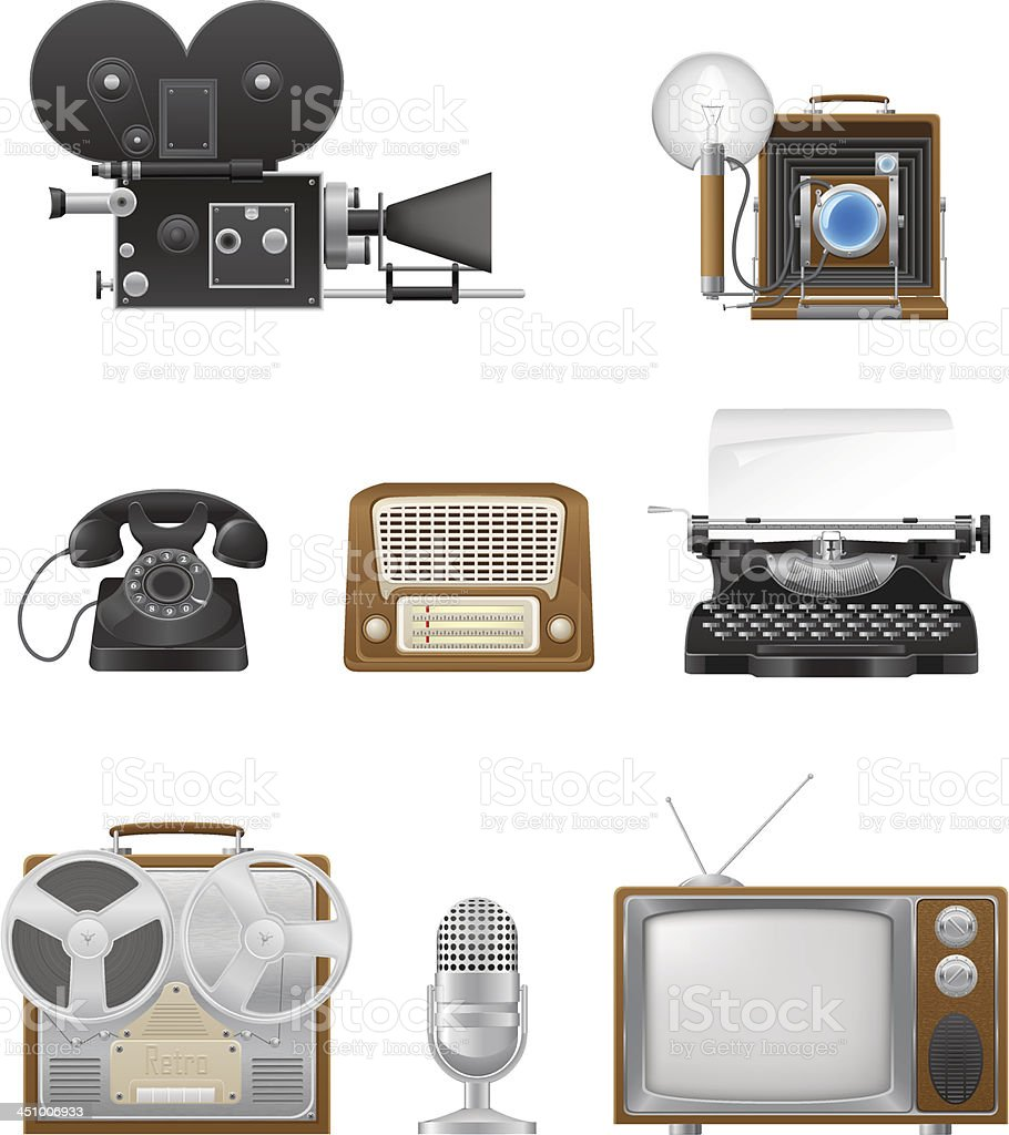 vintage and old art equipment set icons royalty-free stock vector art