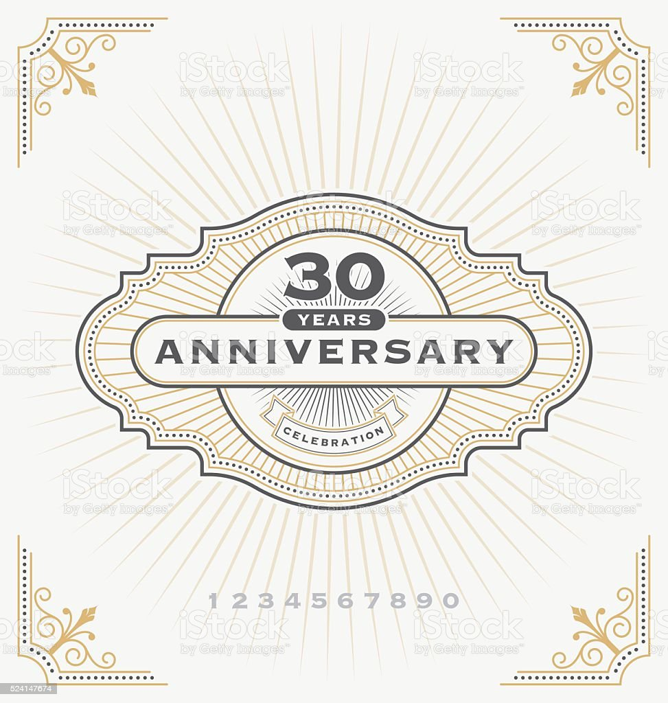 Vintage anniversary celebration label vector art illustration