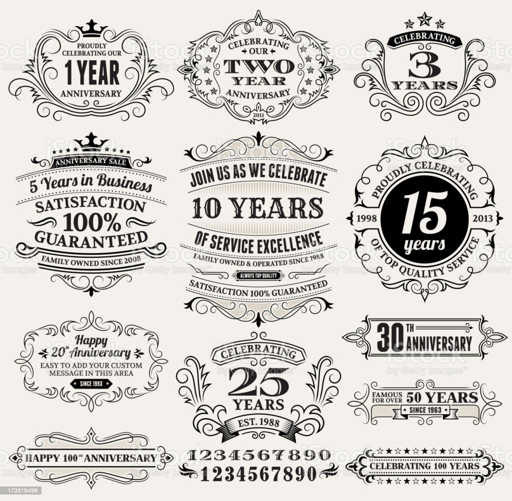 Vintage Anniversary Labels, Frames and Design Elements with Copy Space royalty-free stock vector art