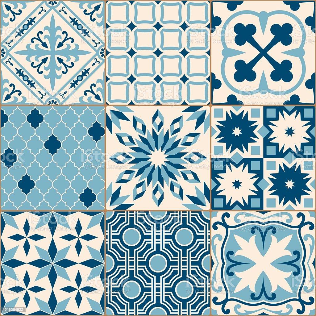 vintage antique blue mosaic porcelain tiles seamless. Black Bedroom Furniture Sets. Home Design Ideas