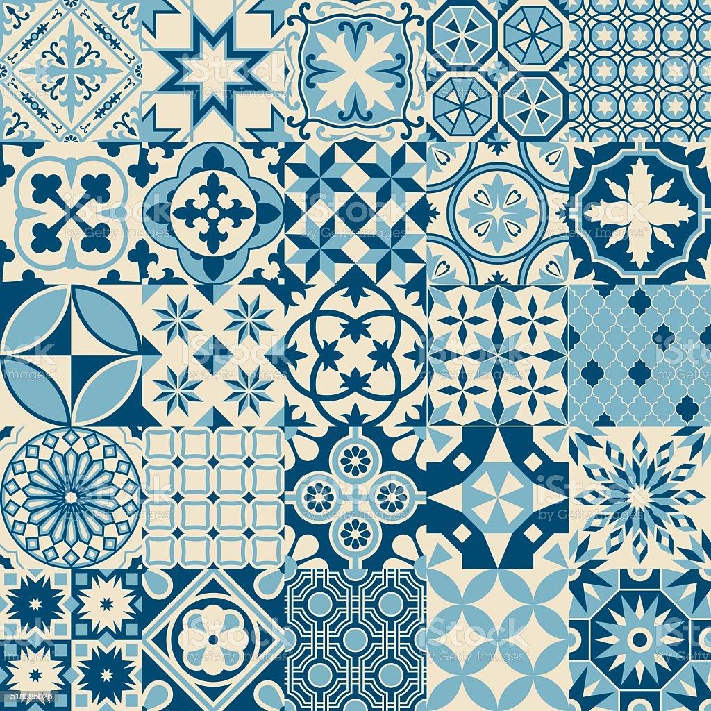antigo vintage azul mosaico azulejos de porcelana padro perfeito vetor e ilustrao royaltyfree royalty
