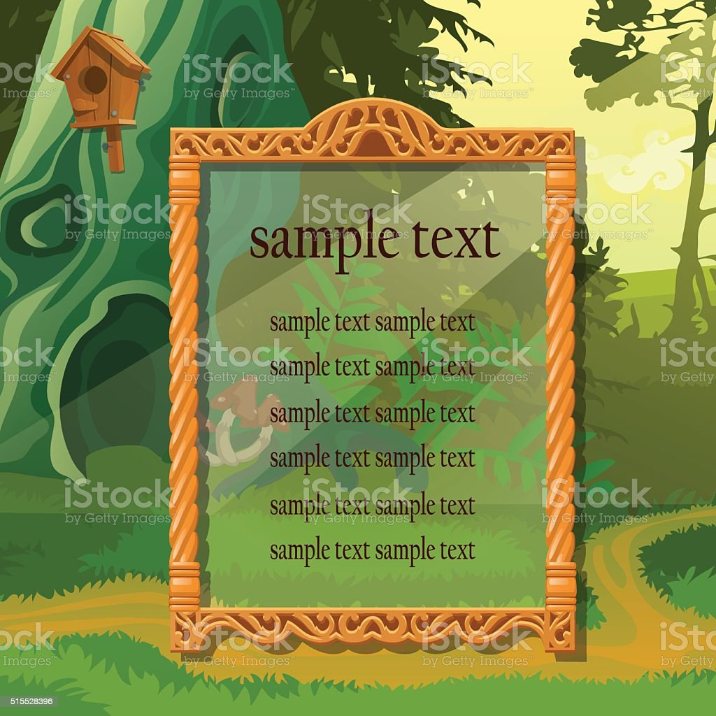 Vintage antique frame in natural surroundings vector art illustration