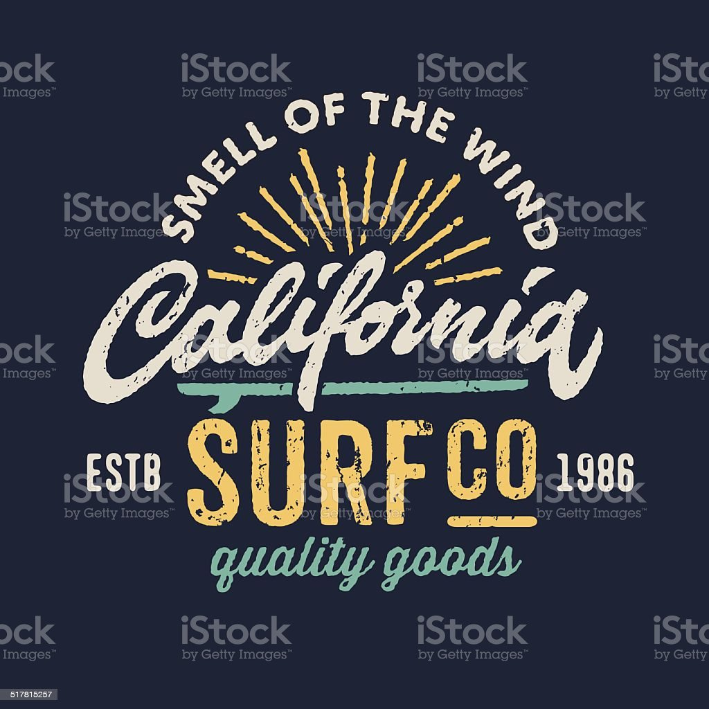 Vintage apparel design for surfing company vector art illustration
