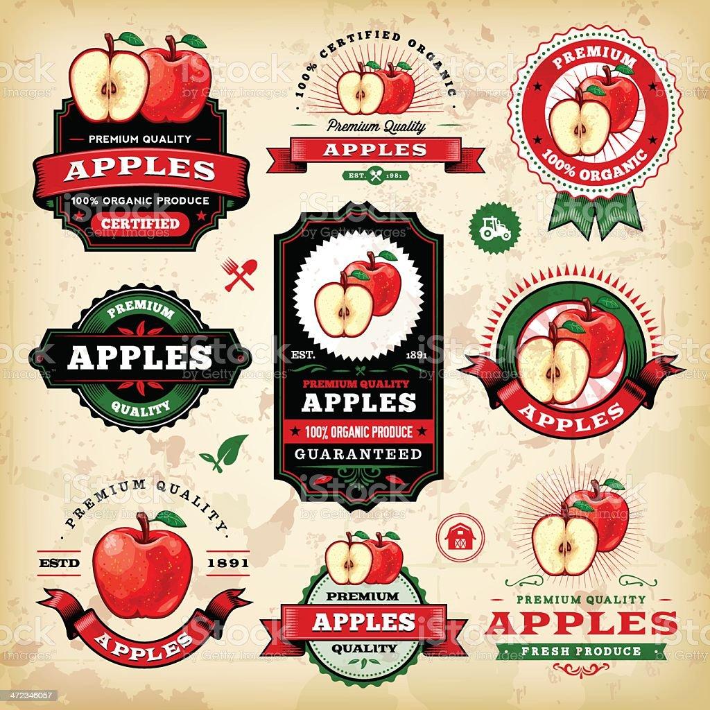 Vintage Apple Labels vector art illustration