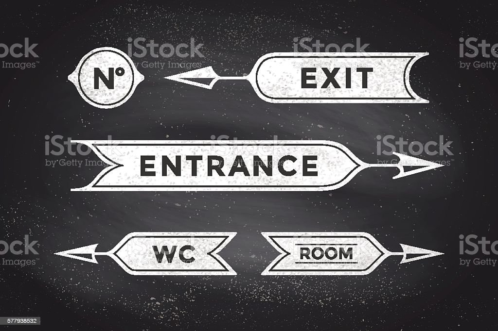 Vintage arrows and banners with inscription Entrance, Exit, Room, WC vector art illustration