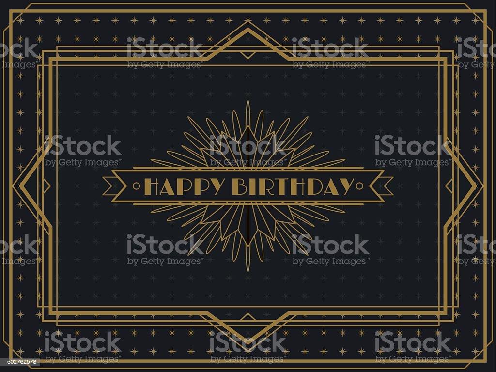 Vintage Art Deco Birthday card frame design vector art illustration