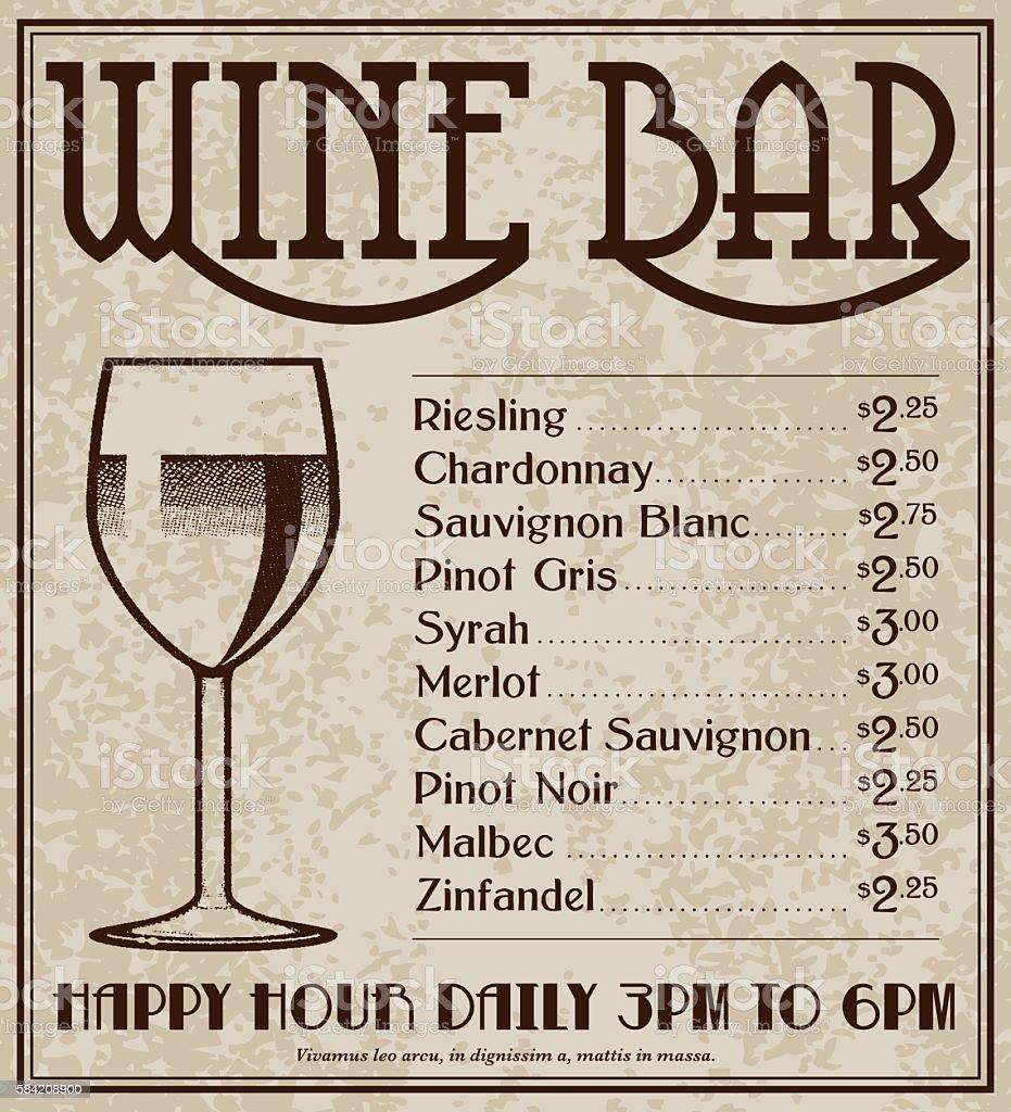 Vintage Art Deco Style Wine Bar Advertisement vector art illustration