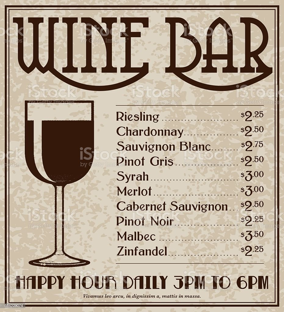 Vintage Art Deco Style Wine Bar Advertisement vector art illustration