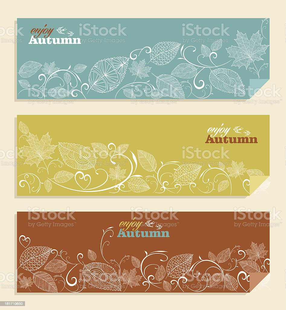 Vintage autumn web banners set with leaves and text inside vector art illustration