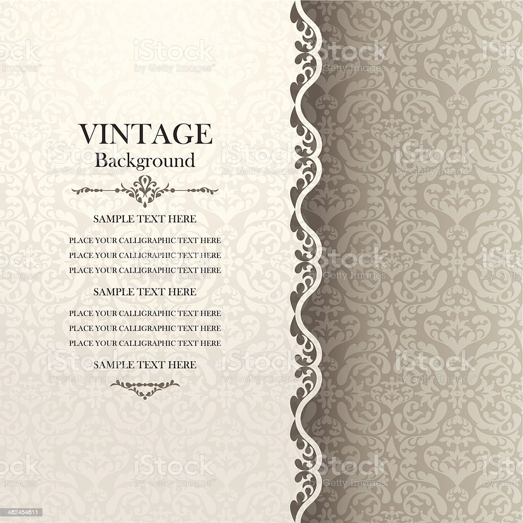 Vintage background, antique greeting card, invitation with lace vector art illustration