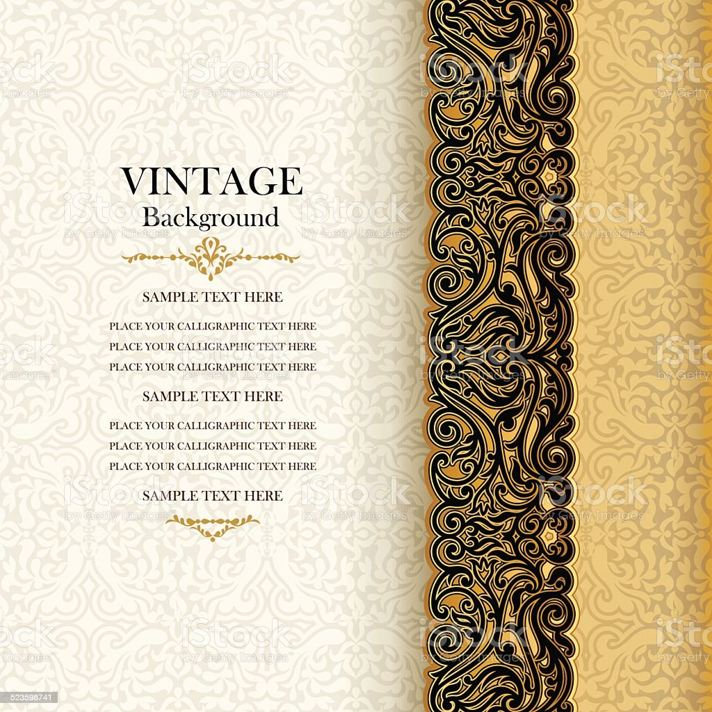 Vintage background, antique invitation card vector art illustration