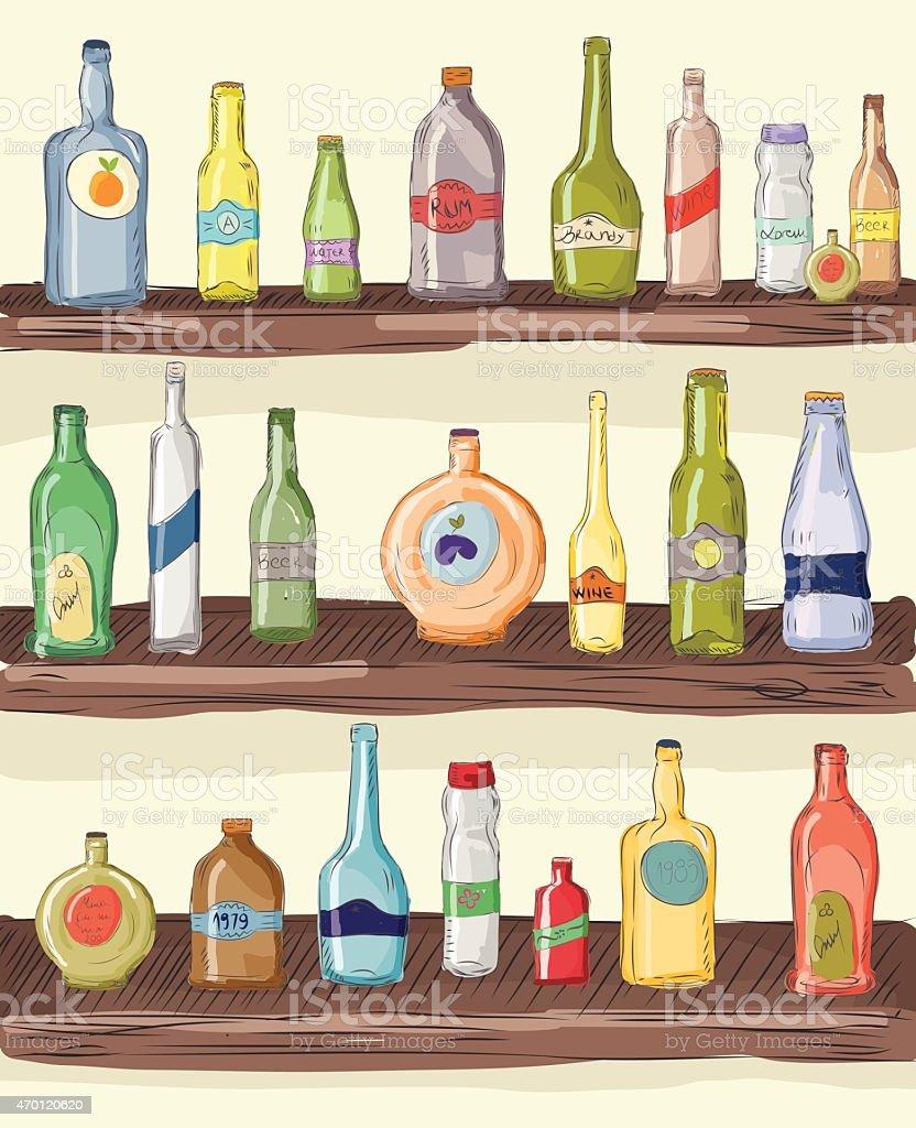 Vintage background ,colorful bottles on shelf. vector art illustration