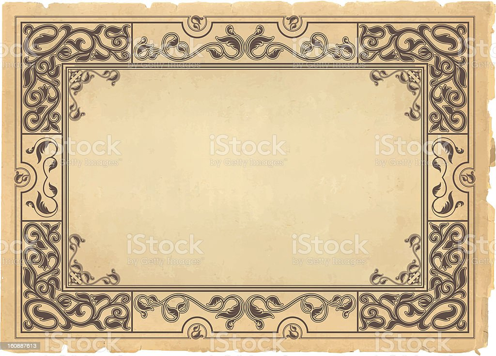 Vintage background, oldfashioned, ripped, grungy paper royalty-free stock photo