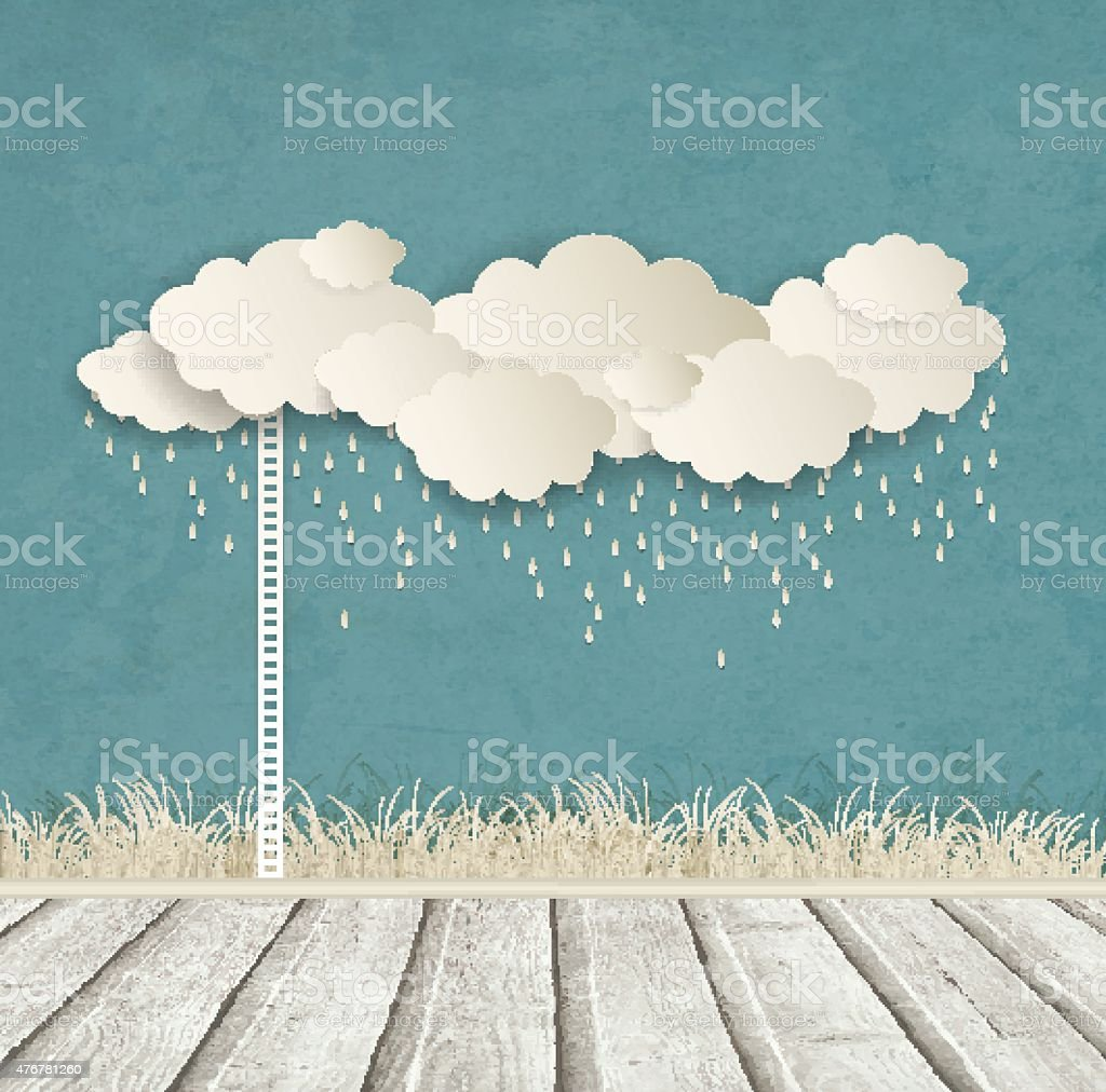 Vintage Background With Clouds vector art illustration