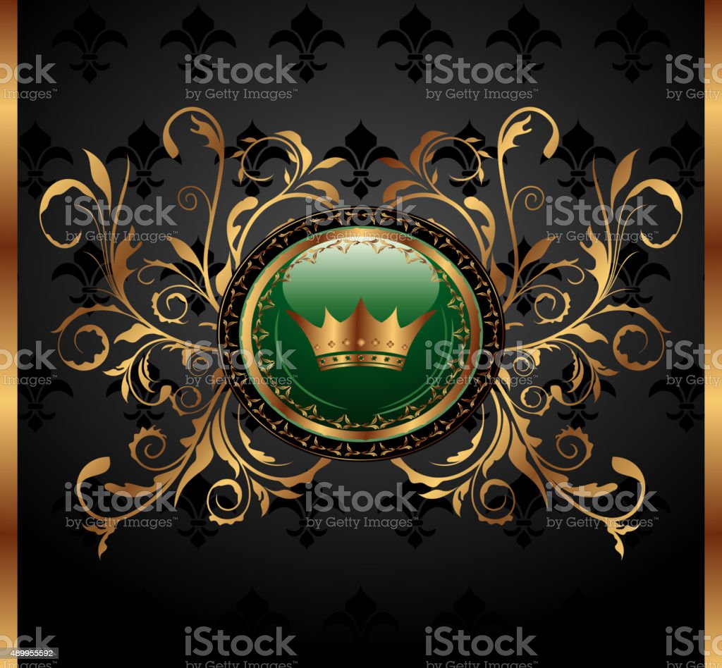 vintage background with crown vector art illustration