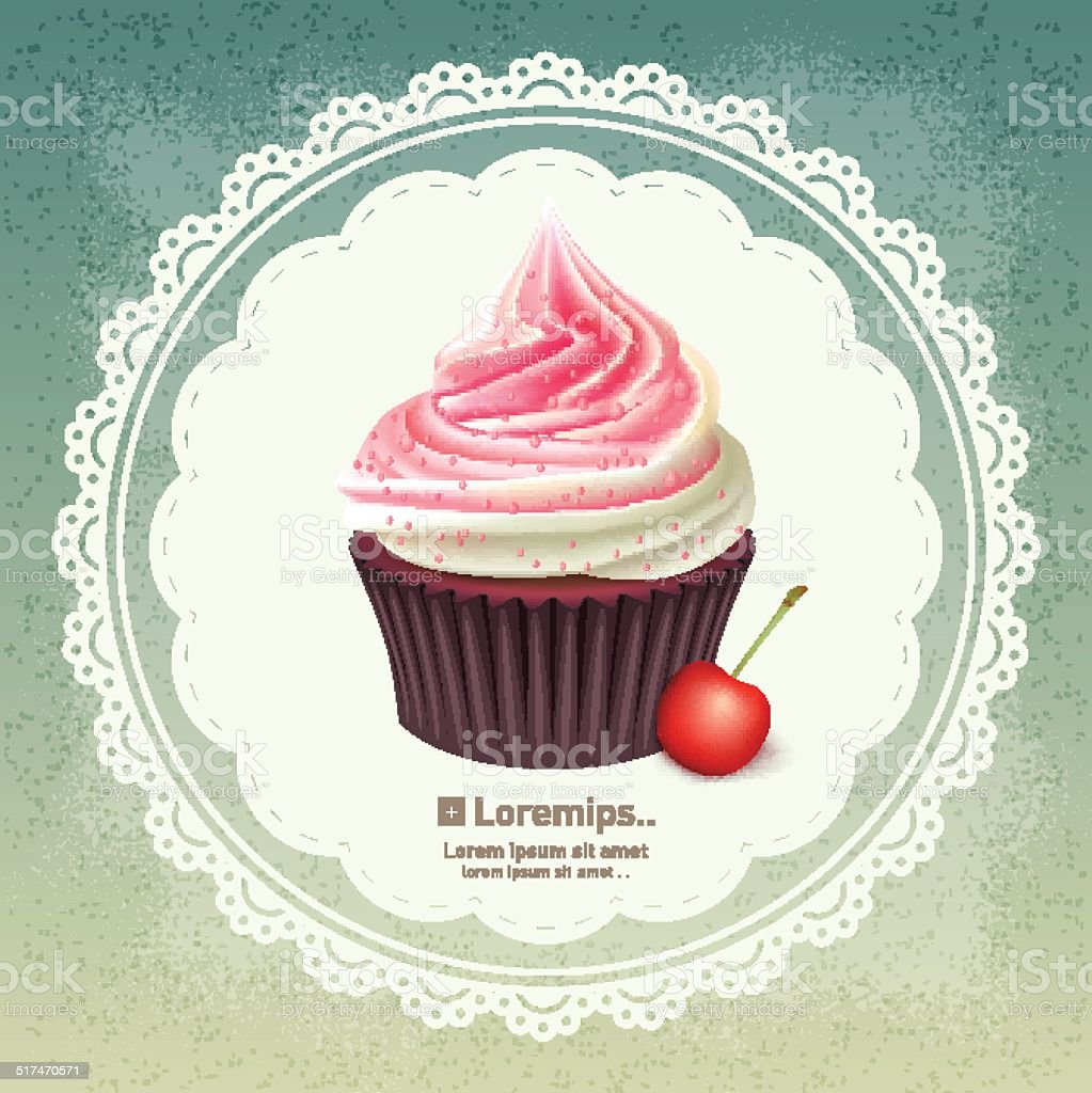 Vintage background with cupcake vector art illustration