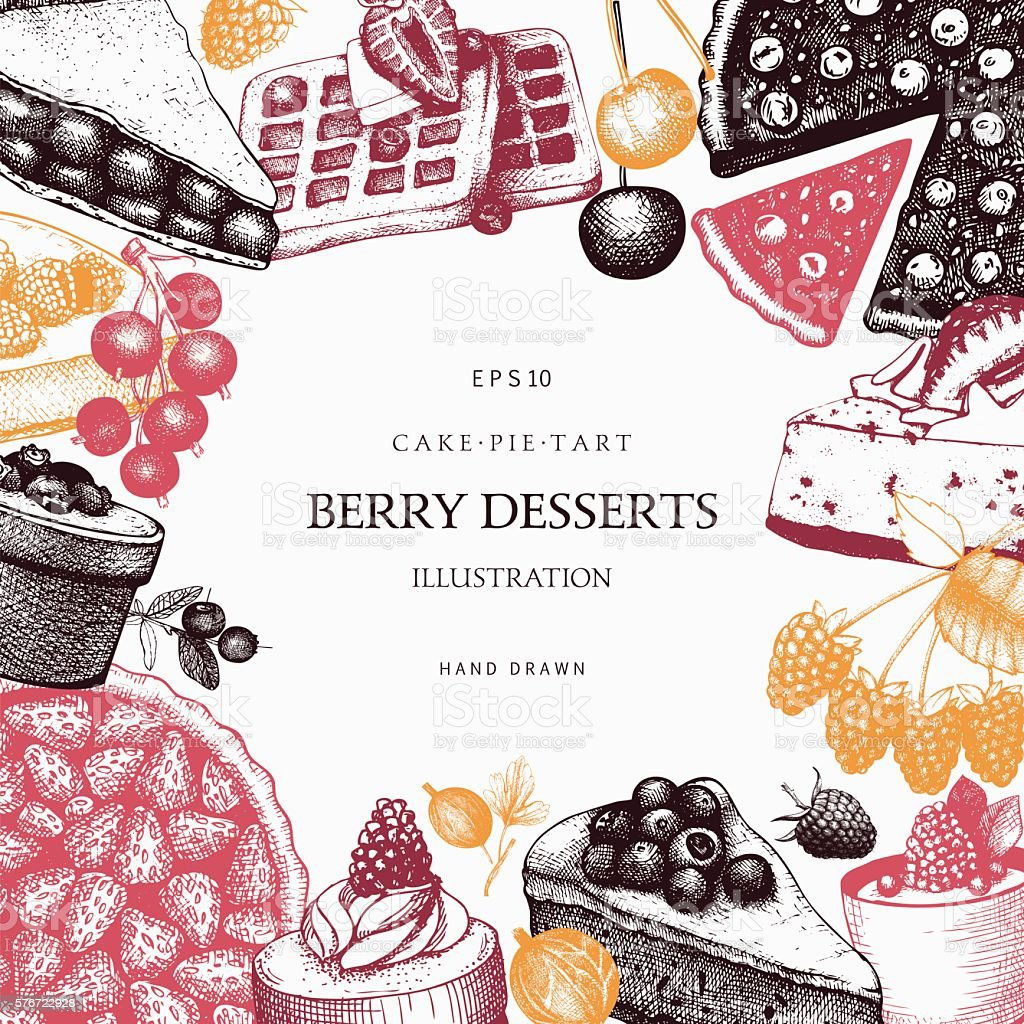 Vintage background with decorative berries dessert sketch. vector art illustration
