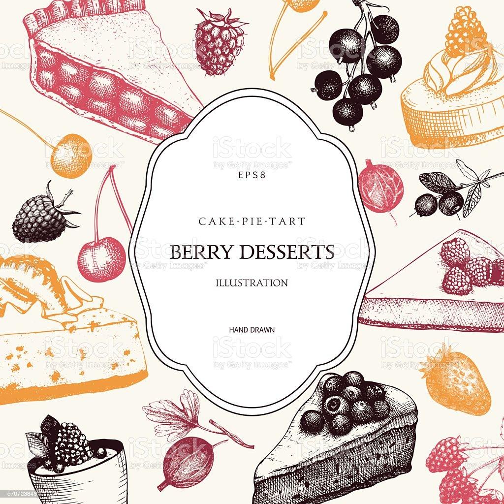 Vintage background with decorative berries dessert sketch. vector art illustration