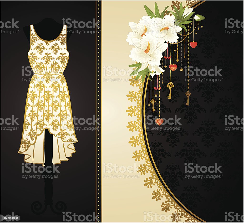 Vintage background with dress and flower ornaments. Vector royalty-free stock vector art