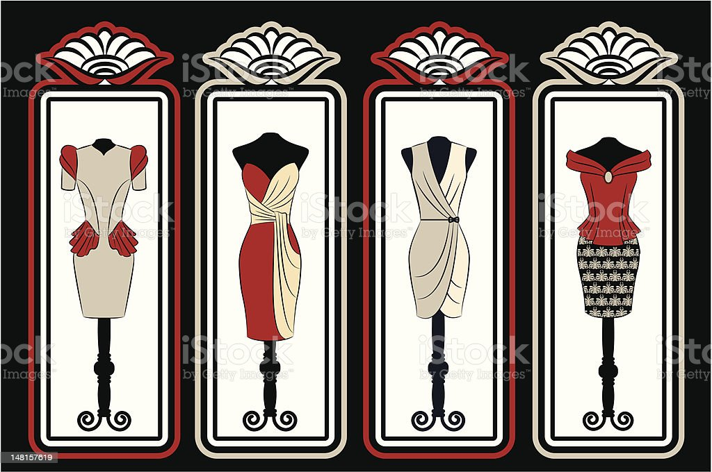 Vintage background with dress  in frames. Vector royalty-free stock vector art