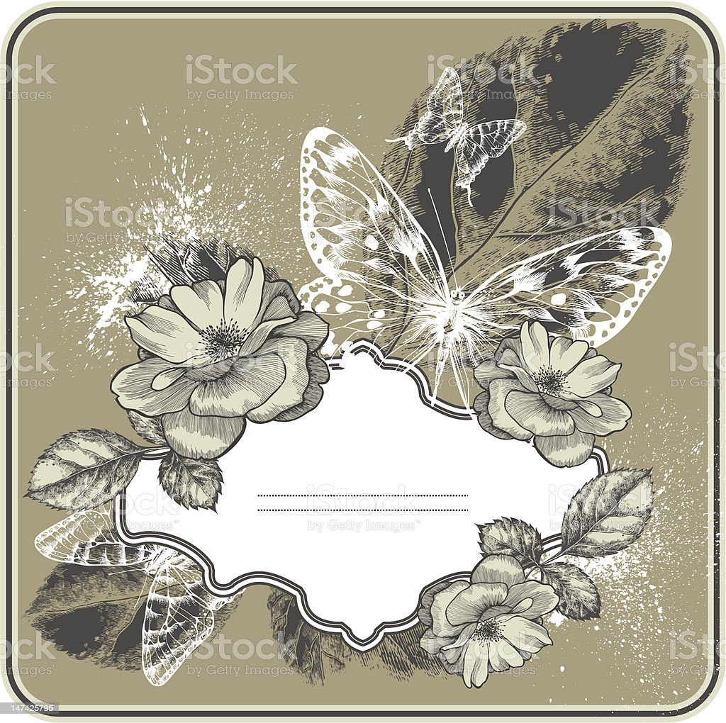Vintage background with frame, blossoming  roses and butterflies. Hand drawing. royalty-free stock vector art