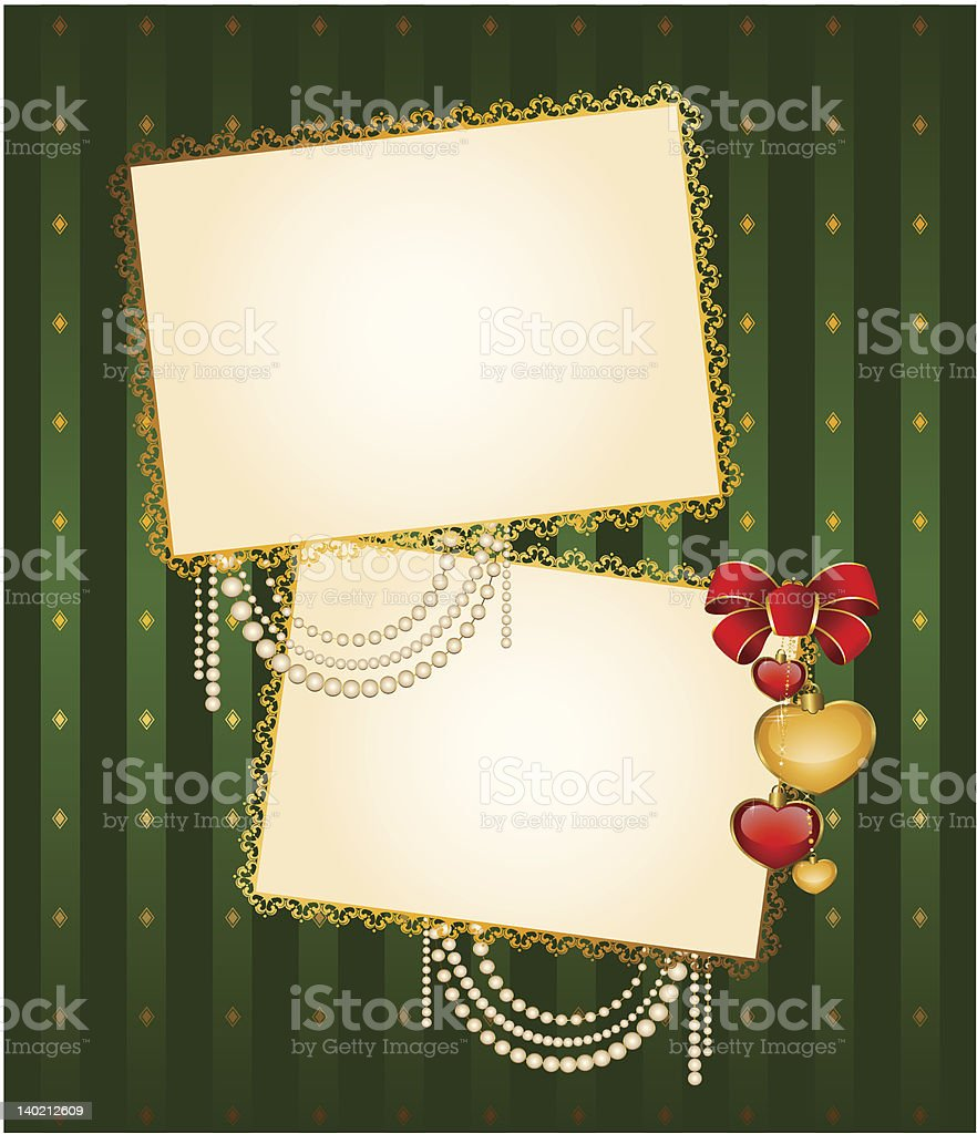 Vintage background with frames and bow. Vector royalty-free stock vector art