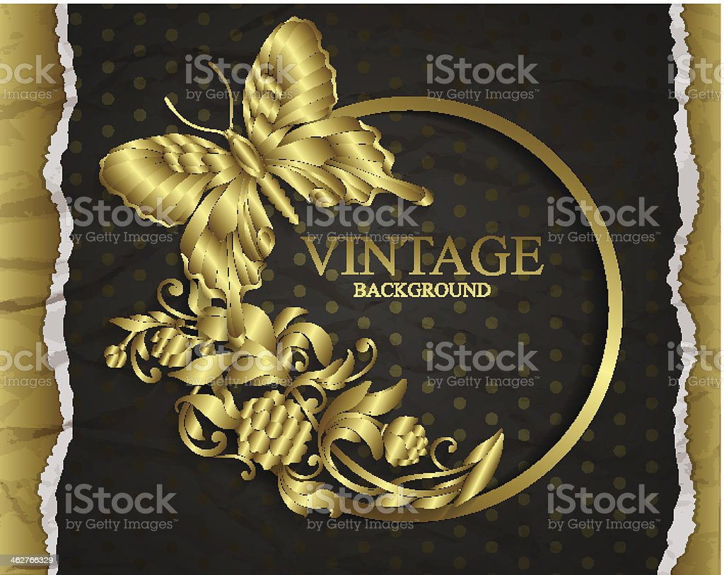 Vintage background with golden design elements royalty-free stock vector art