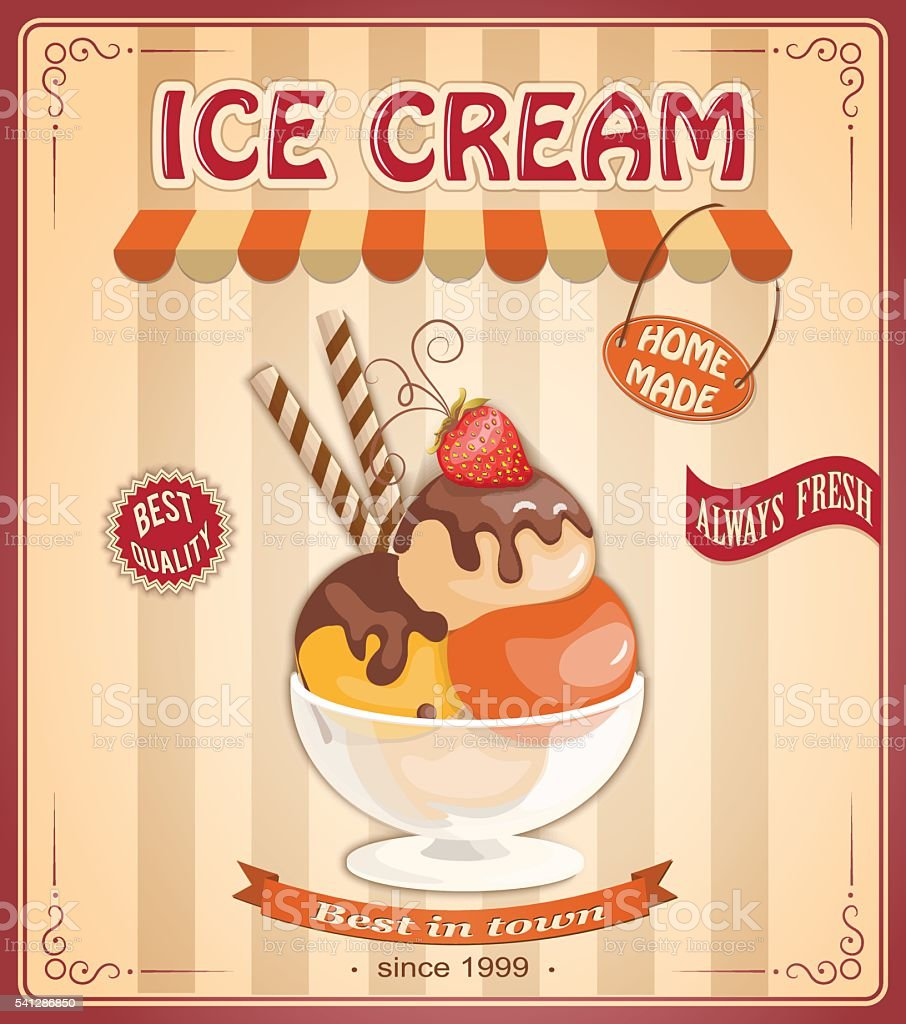 vintage background with home made ice cream vector art illustration