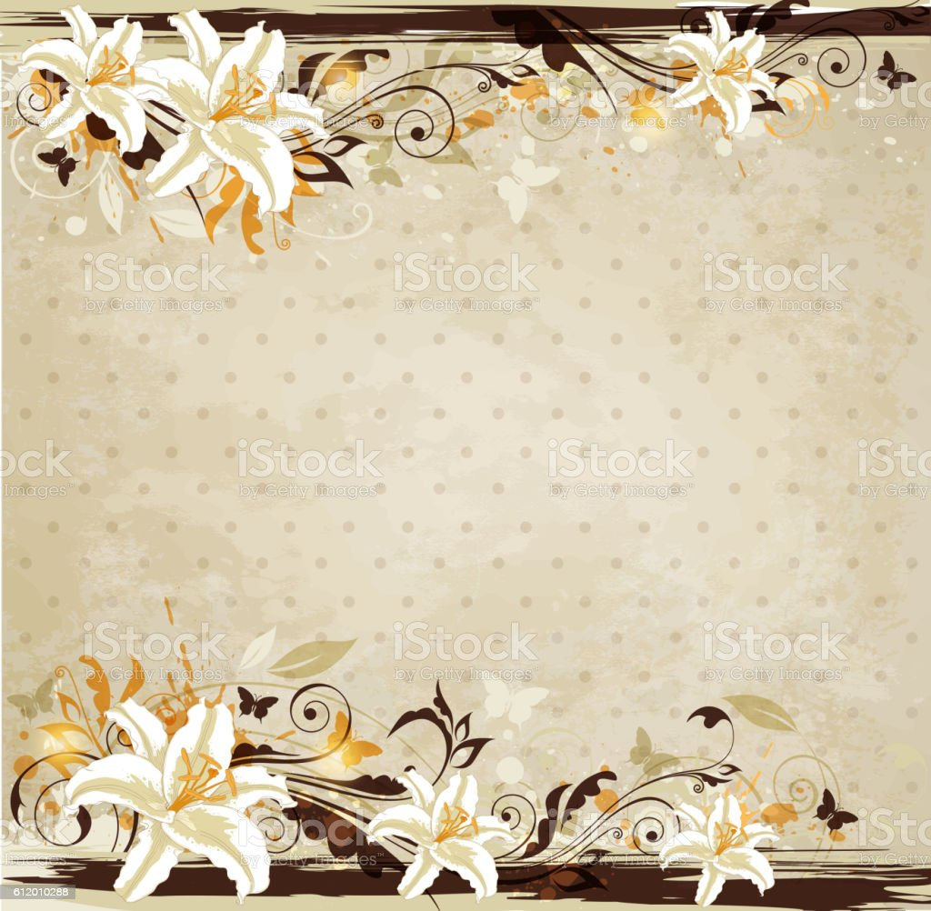 Vintage background with lily vector art illustration