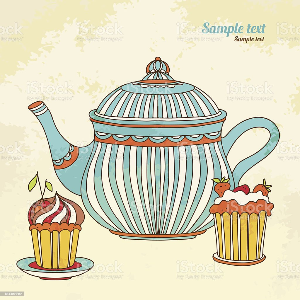 Vintage background with teapot and cakes royalty-free stock vector art