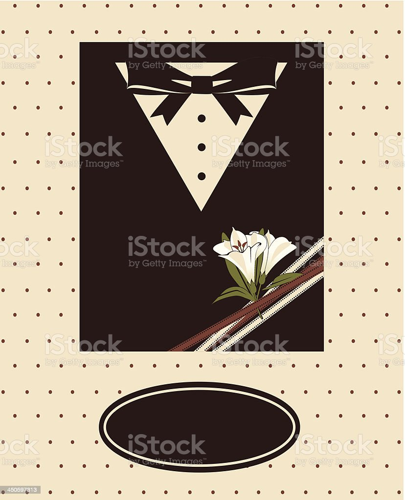 Vintage background with tuxedo shirt and bowtie close up royalty-free stock vector art