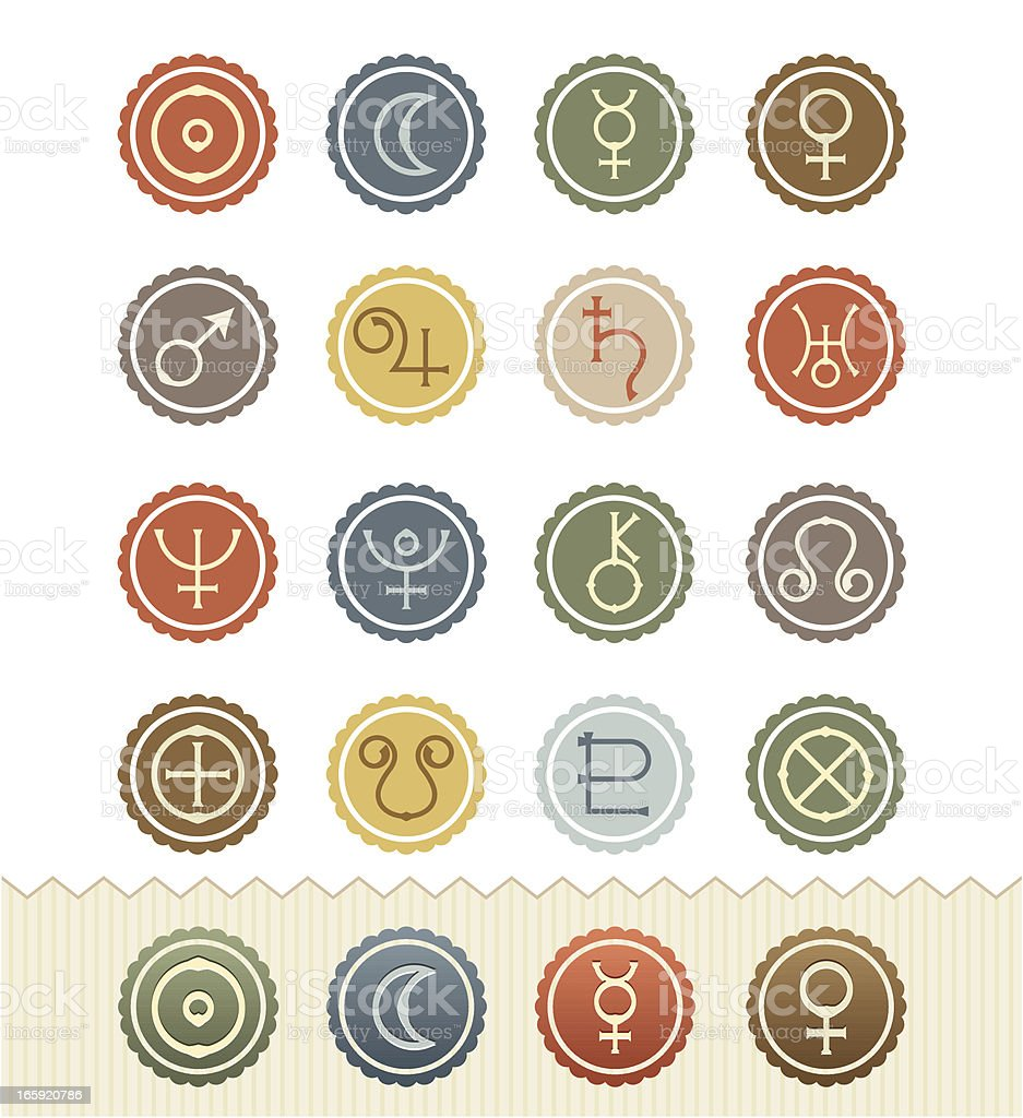 Vintage Badge Series : Astrological Planets Icons vector art illustration