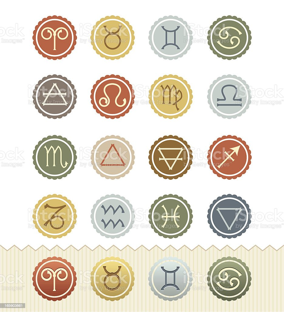 Vintage Badge Series : Astrology and Four Elements Icons royalty-free stock vector art