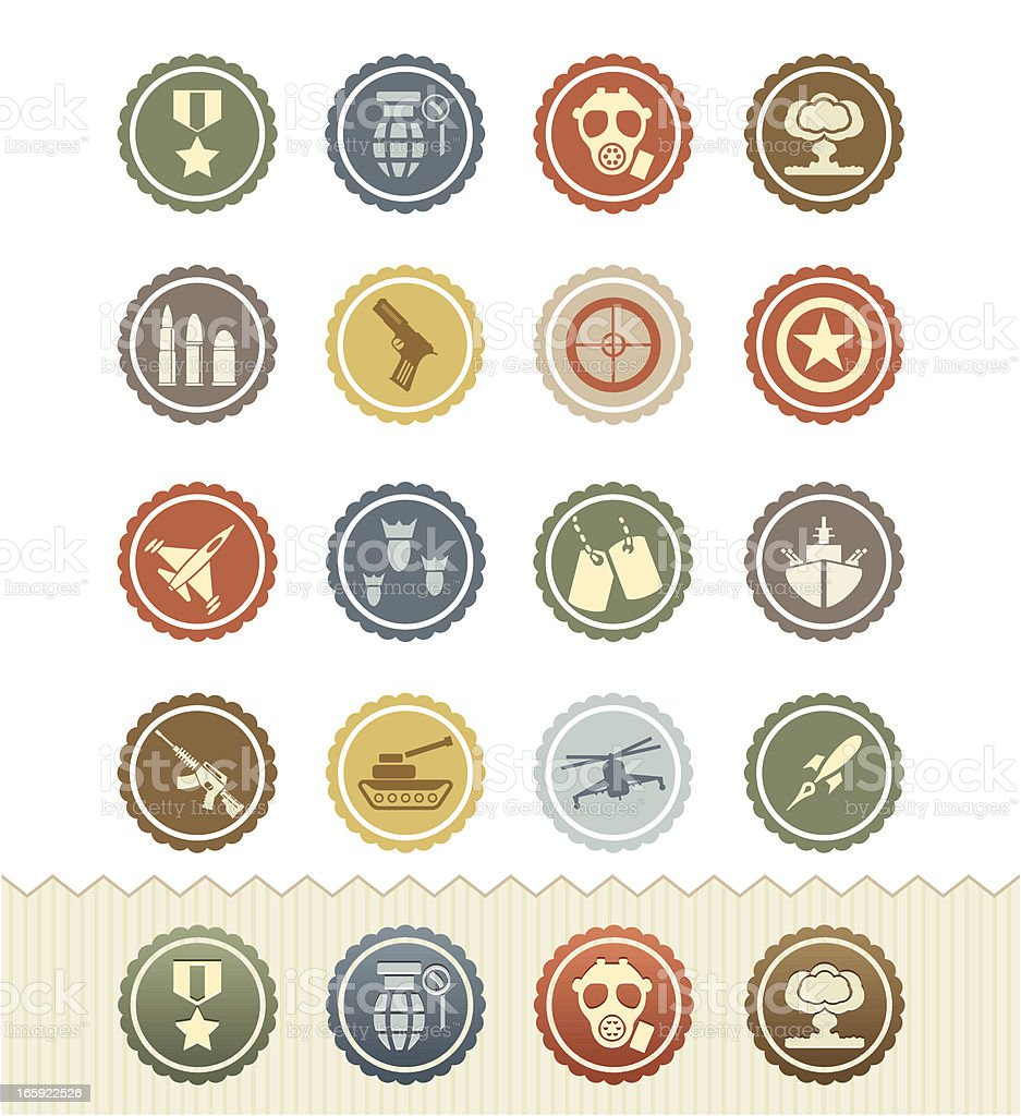 Vintage Badge Series : War Games and Military Icons vector art illustration