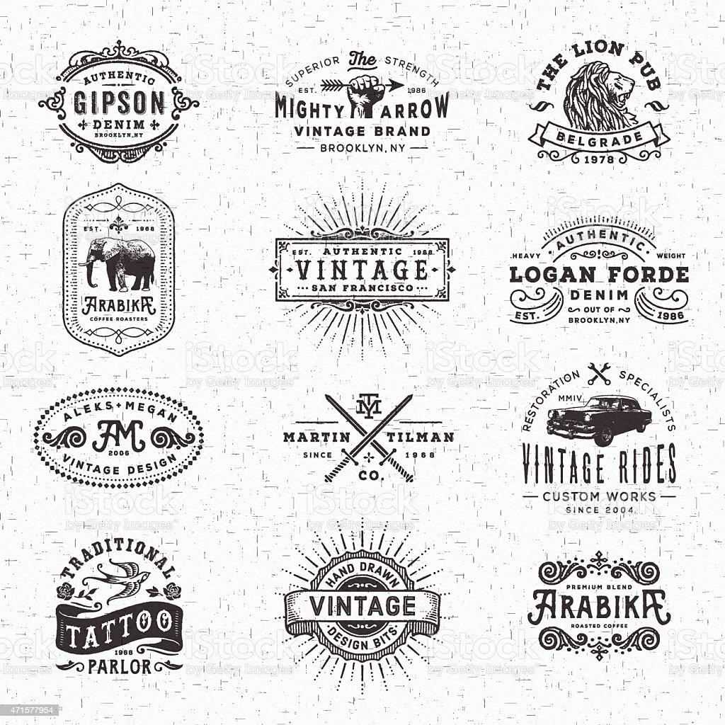 Vintage Badges, Labels and Frames vector art illustration
