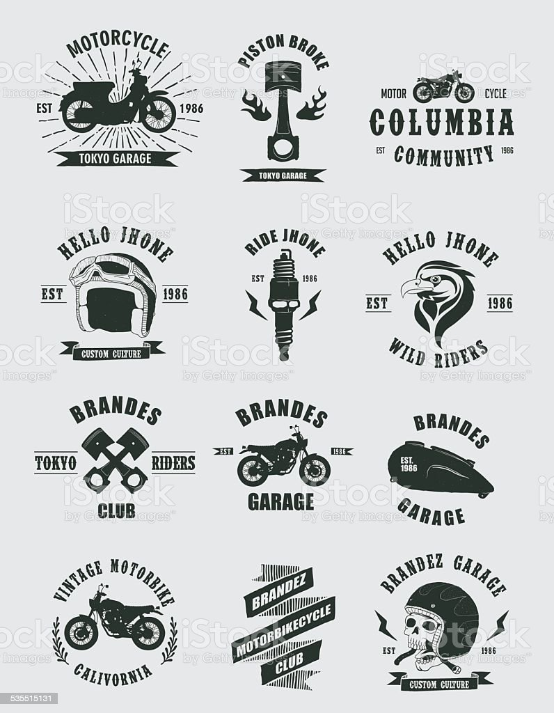 Vintage Badges Motorcycle vector art illustration