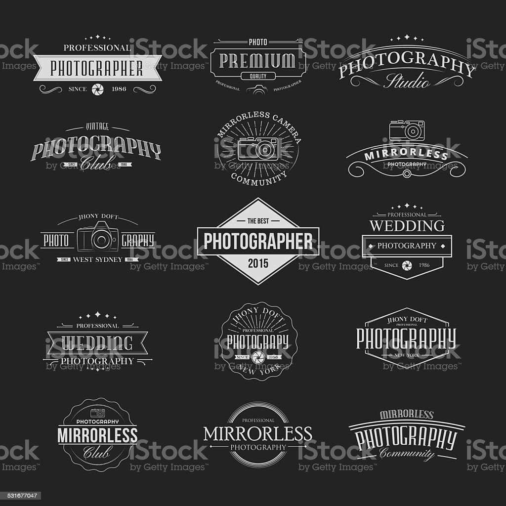 Vintage Badges Photography vector art illustration